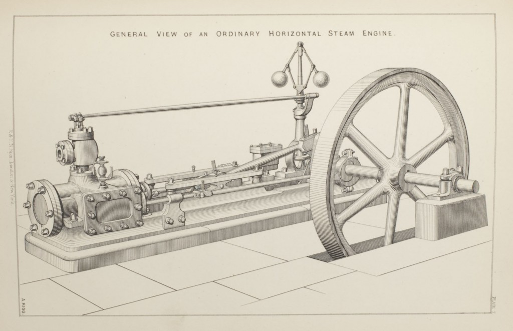 View of a horizontal steam engine