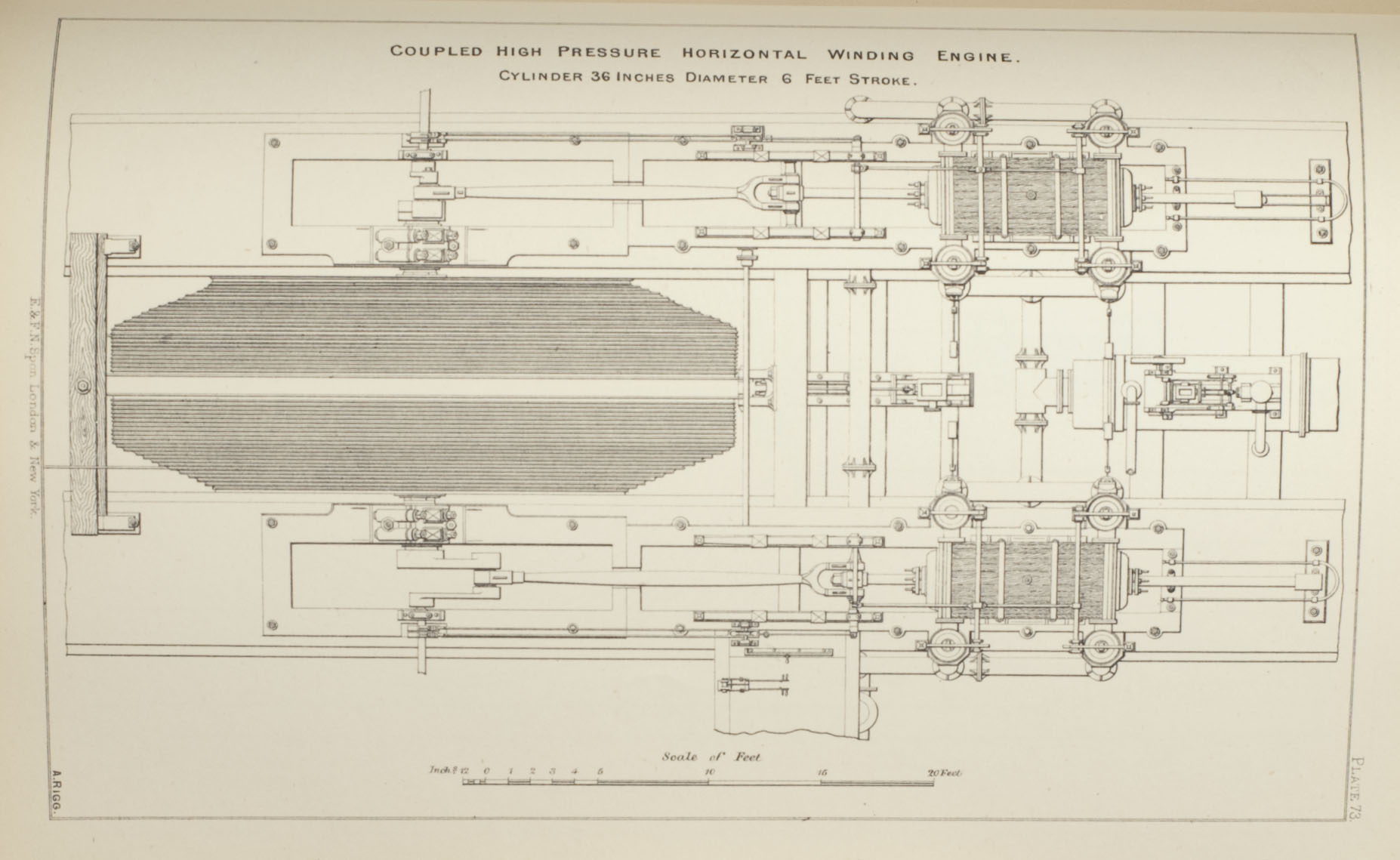 Coupled high pressure horizontal winding engine