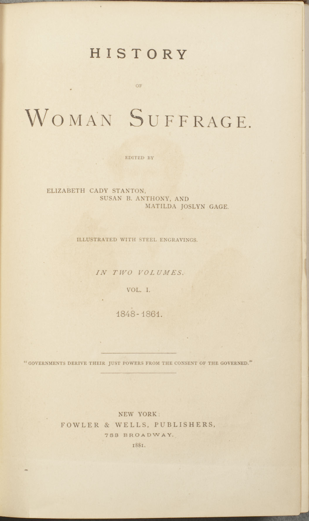 Title page of volume 1