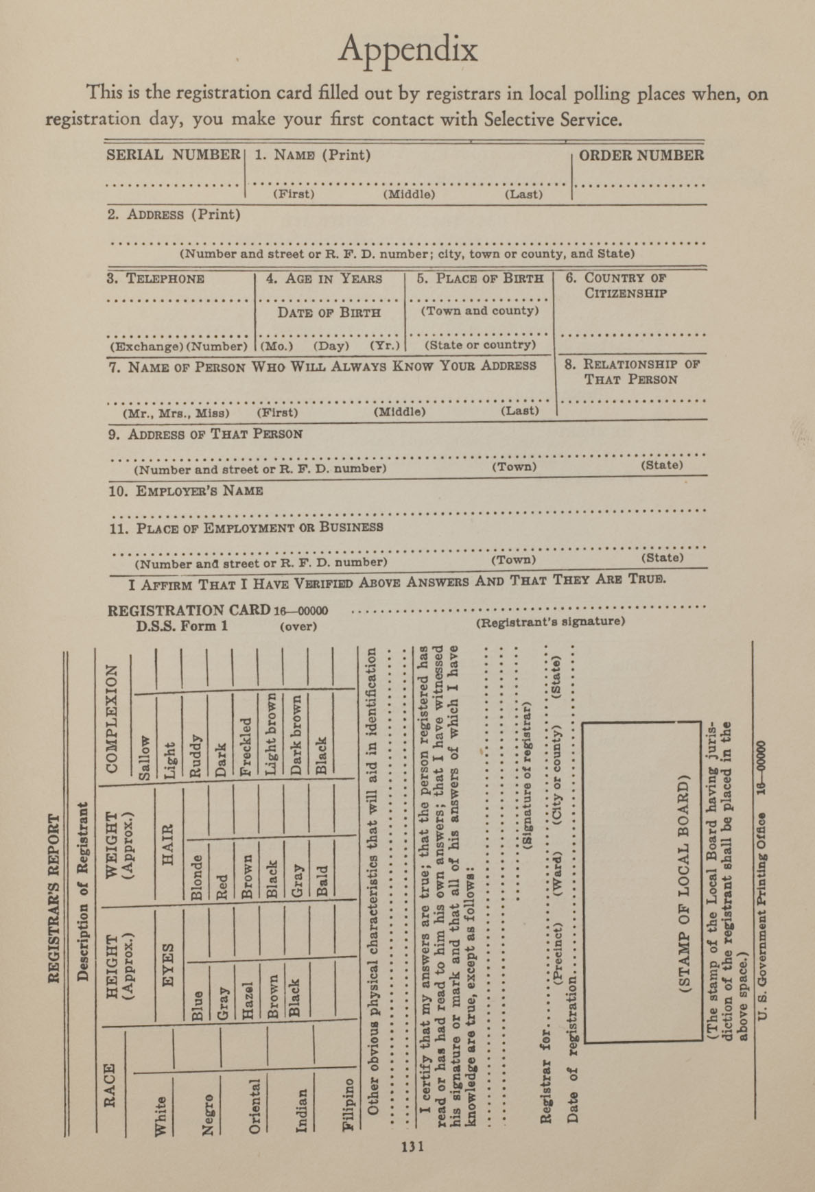 Registration card sample