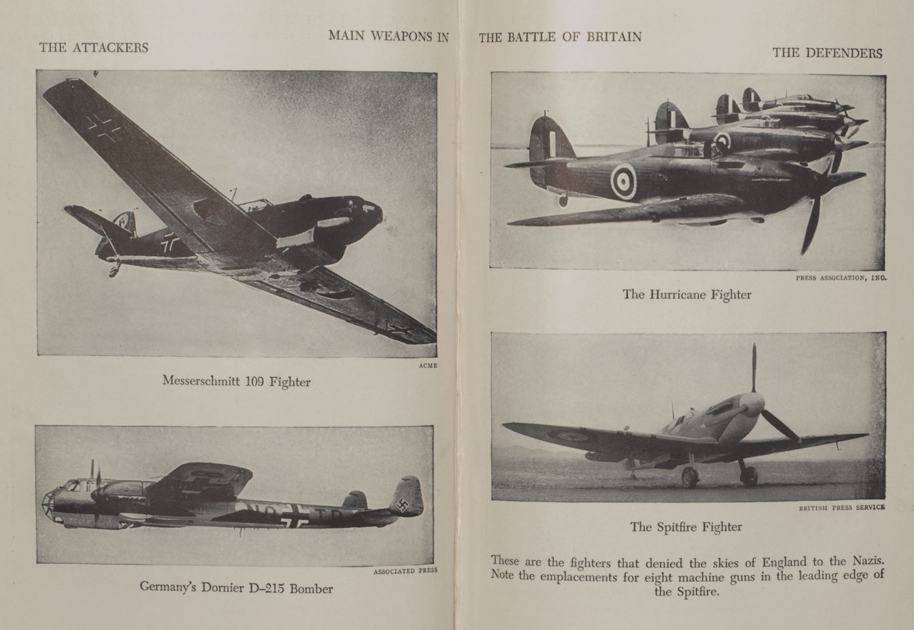 """Main weapons in the Battle of Britain"""