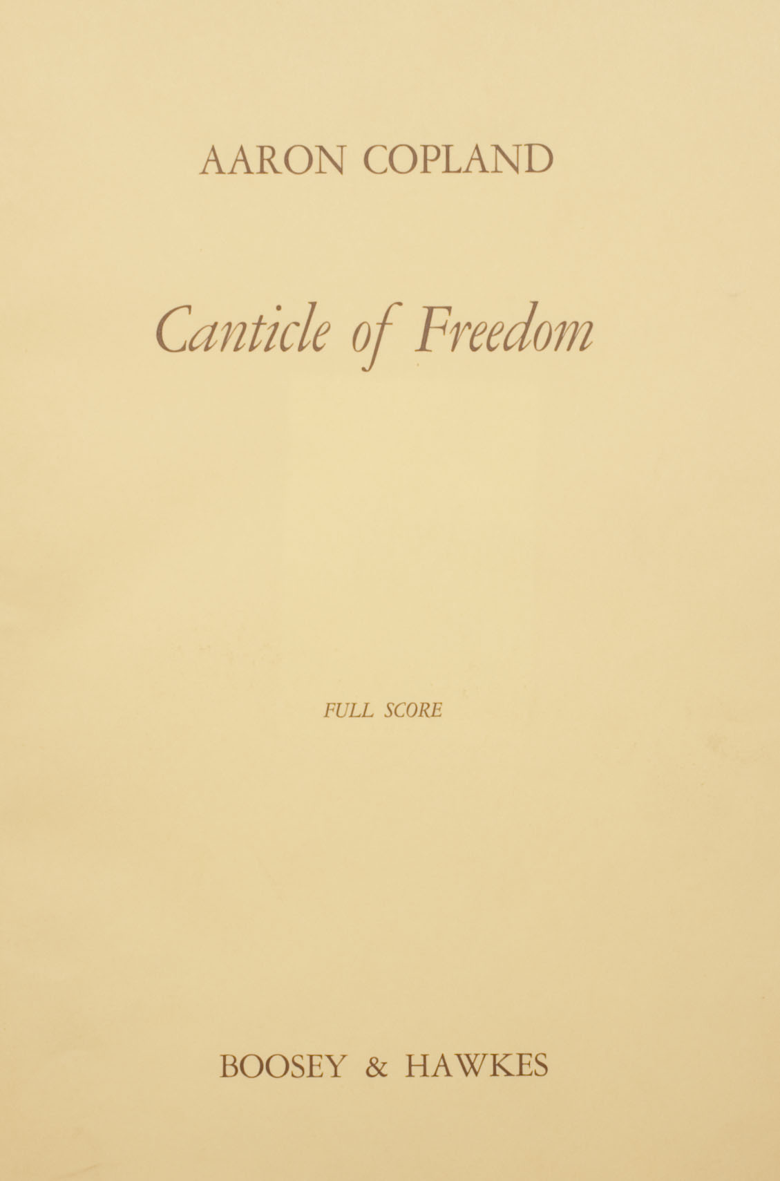 Published score of revised version, 1968