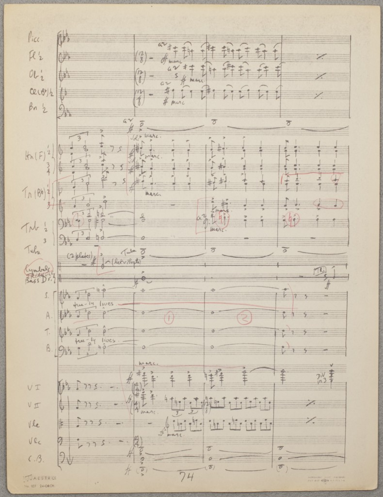 Copy of 1955 manuscript score with markings