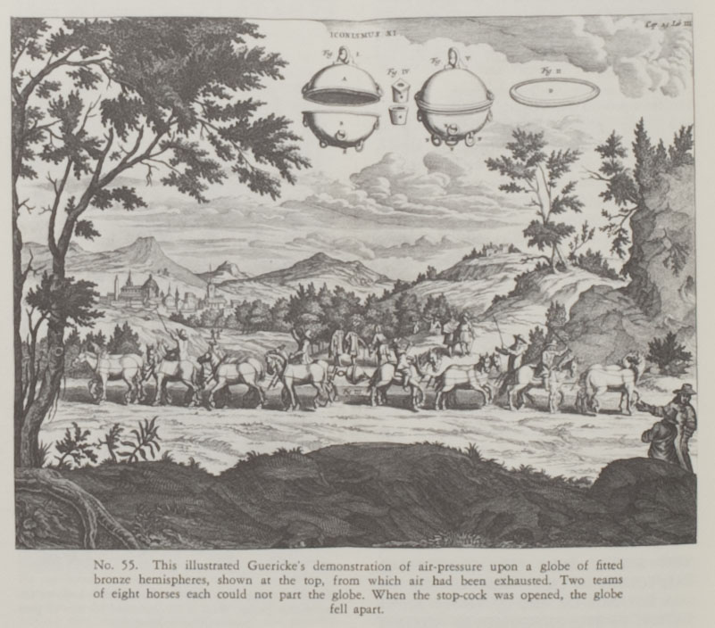 Guericke illustration of a demonstration of air-pressure