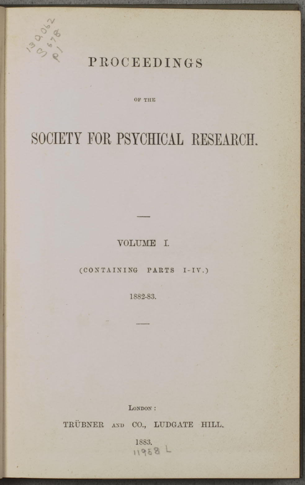 Proceedings, Society for Psychical Research (Vail Collection)