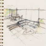 Loft interior design sketch p. 92, Sketchbook circa 2006 by Architect and Designer Ali Tayar