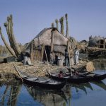 View of sarifas (traditional reed houses) on marshes of Iraq. circa 1930-1960 by photographer Kamil Chadirji