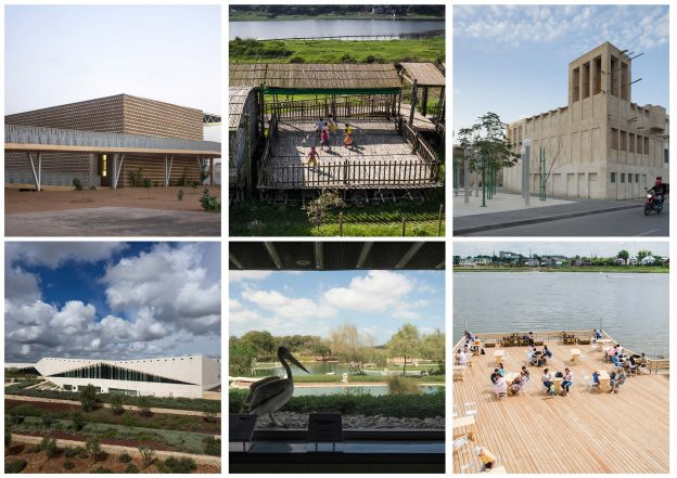 Collage showing images of the six recipients of the 2019 Aga Khan Award for Architecture