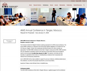 Screen shot of http://aimsnorthafrica.org/annual-conference/