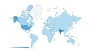 Google analytics map showing geographic distribution of Archnet visitors