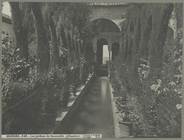 Black and white photograph of the Generalife: Patio de la Acequia: view along central axis.