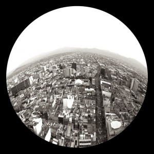 Circular image of a city