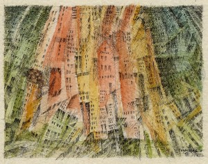 Painting of colorful city building fronts chaotically leaning together