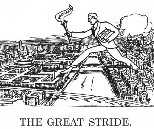 Illustration of the Great Stride across the Charles River