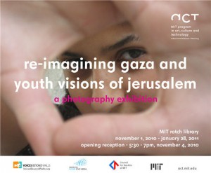"Hands framing eyes as if preparing to take a photo, with the text ""Re-Imagining Gaza and Youth Visions of Jerusalem"""