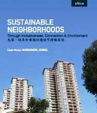"Book cover, ""Sustainable Neighborhoods"": blue sky. white skyscrapers"