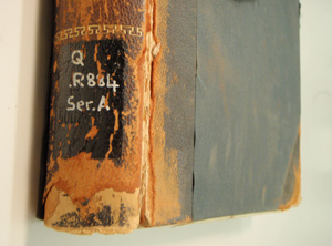 Leather binding with red rot