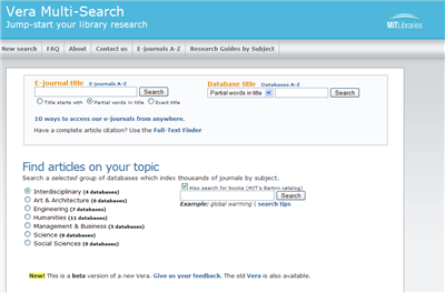 Screenshot of new Vera Multi-Search