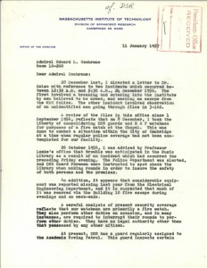 Letter, Harvey Burstein to Admiral Edward L. Cochrane, 11 January 1957