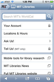 mobile web site homepage