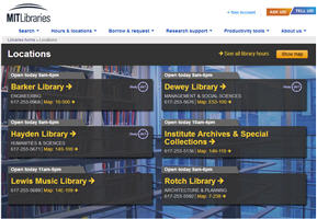 Screenshot of library locations web page