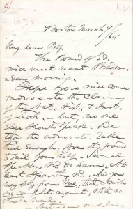 Letter from Governor Andrew to William Barton Rogers, 9 March 1861