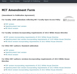 screen shot MIT amendment web page revised with WH directive versions
