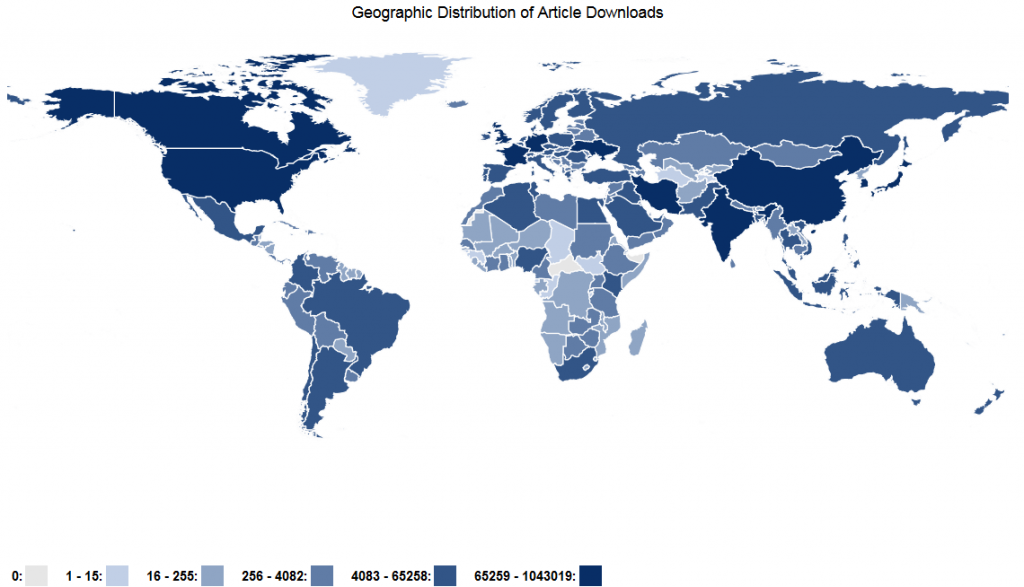 Map of Open Access Articles Collection downloads