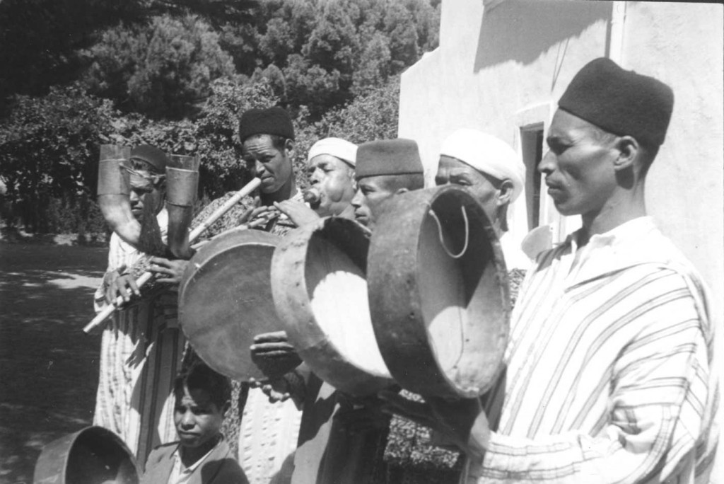 Musicians of the Beni Bouifrour play in Seganan, Morocco