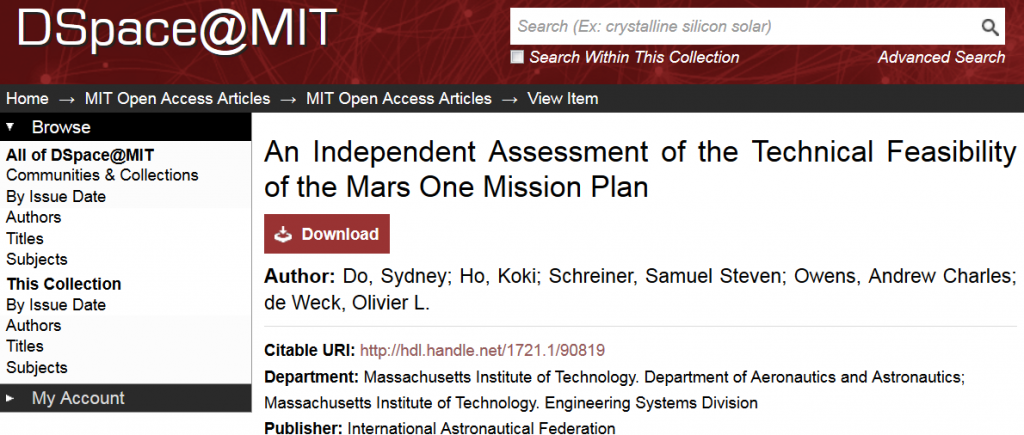 Screenshot of a popular article in the OA collection