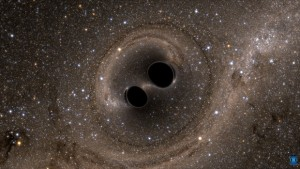 Two black holes merge