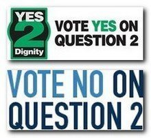 Vote yes, vote no on 2 signs