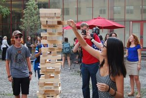 Giant Jenga at the 2016 Ice Cream Social