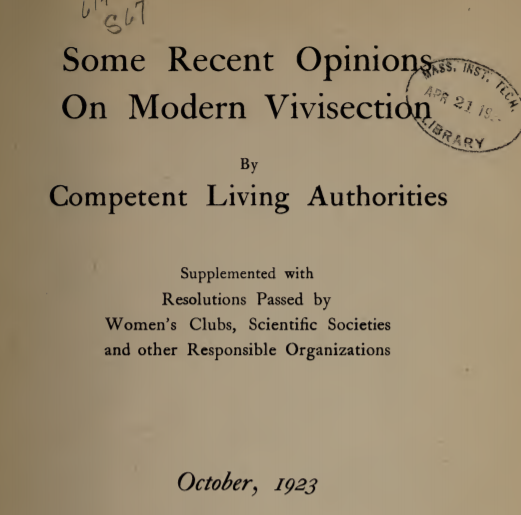 Modern vivisection title page