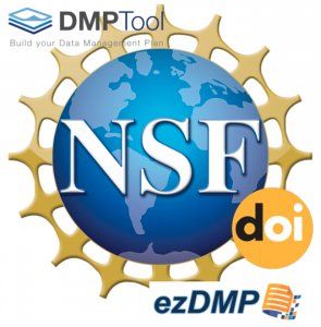 NSF logo with DOI, DMPTool & ezDMP logos