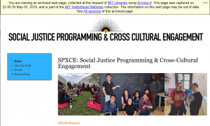 Screen shot of archived spxce.mit.edu website
