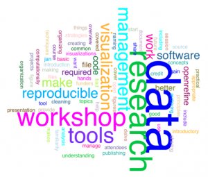 Word collage with keywords from data workshops
