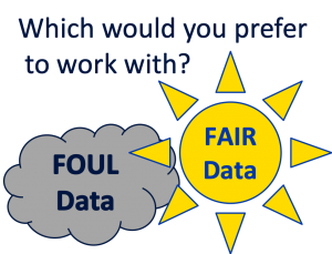 Image of a dark cloud for FOUL data and a yellow sun for FAIR data with the question: Which would you prefer to work with?