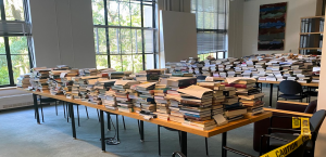 Piles of books on tables at Rotch Library