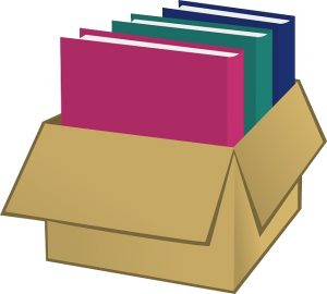graphic of books in a box