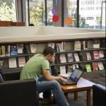 photo of student working in Dewey Library