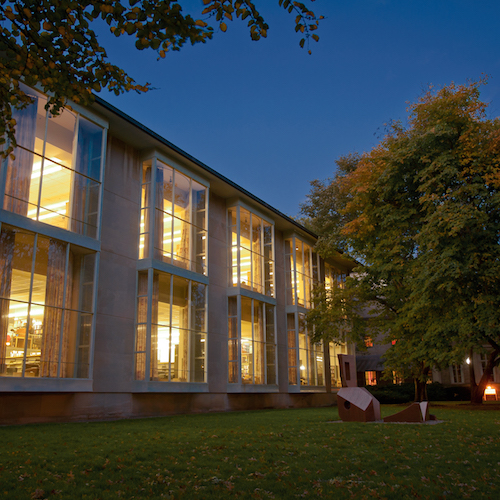 Hayden Library at dusk