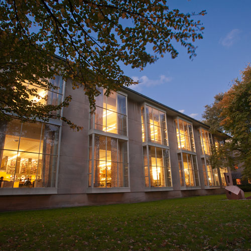 Hayden Library exterior at night